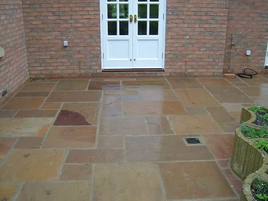 Lovely Natural Stone Patio Slabs With Inset Drainage