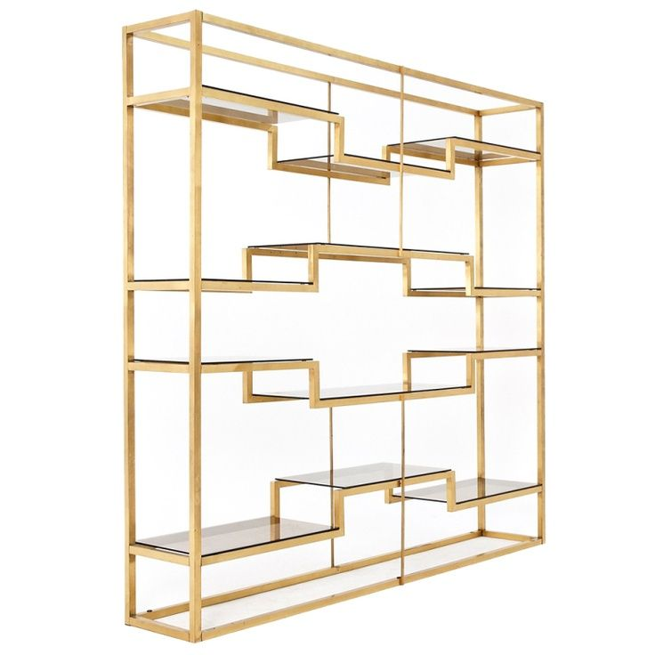 Freestanding Italian room divider shelving system attributed to