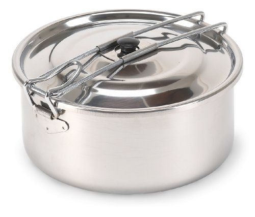 Stansport s  Solo  Stainless Steel Cook Pots feature high-quality stainless  steel with a fold-away stay-cool handle. Folding handle locks lid securely  and ... 3ea86c4d4