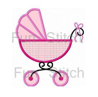baby carriage applique machine embroidery design