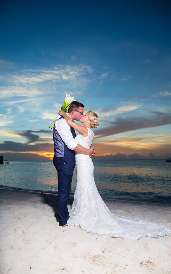 lovely beach wedding photo of Megan wearing Sophia Tolli Leigh - Style Y21432