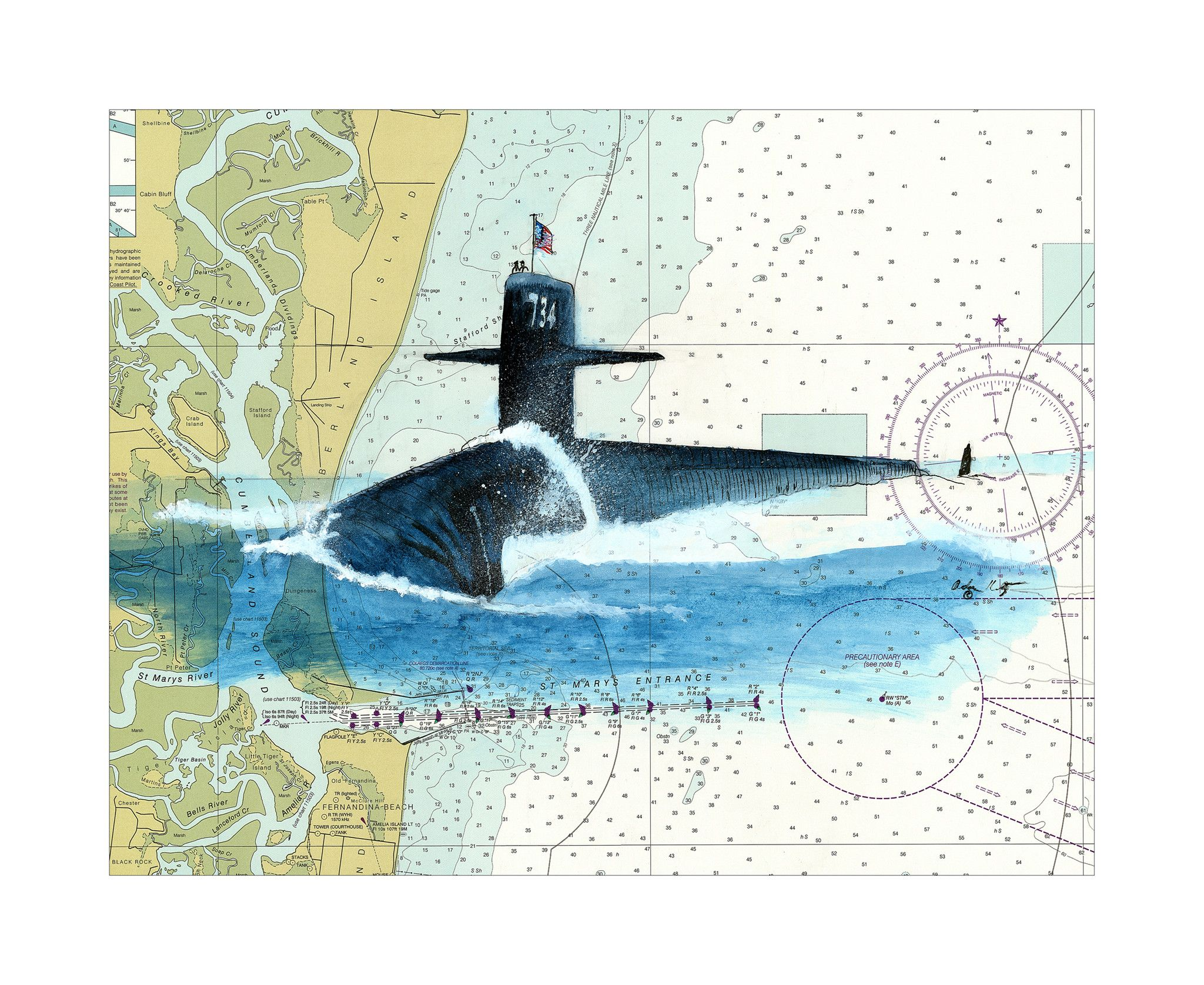 USS Tennessee SSBN734 Submarine Watercolor Giclee Print