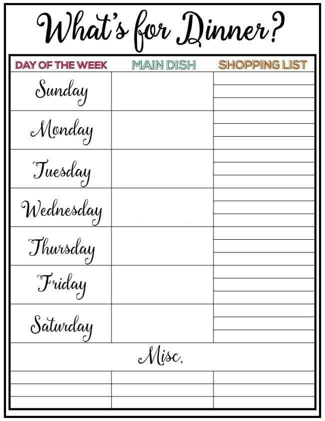 Weekly Meal Plan + Printable, Week 9 Printable shopping list