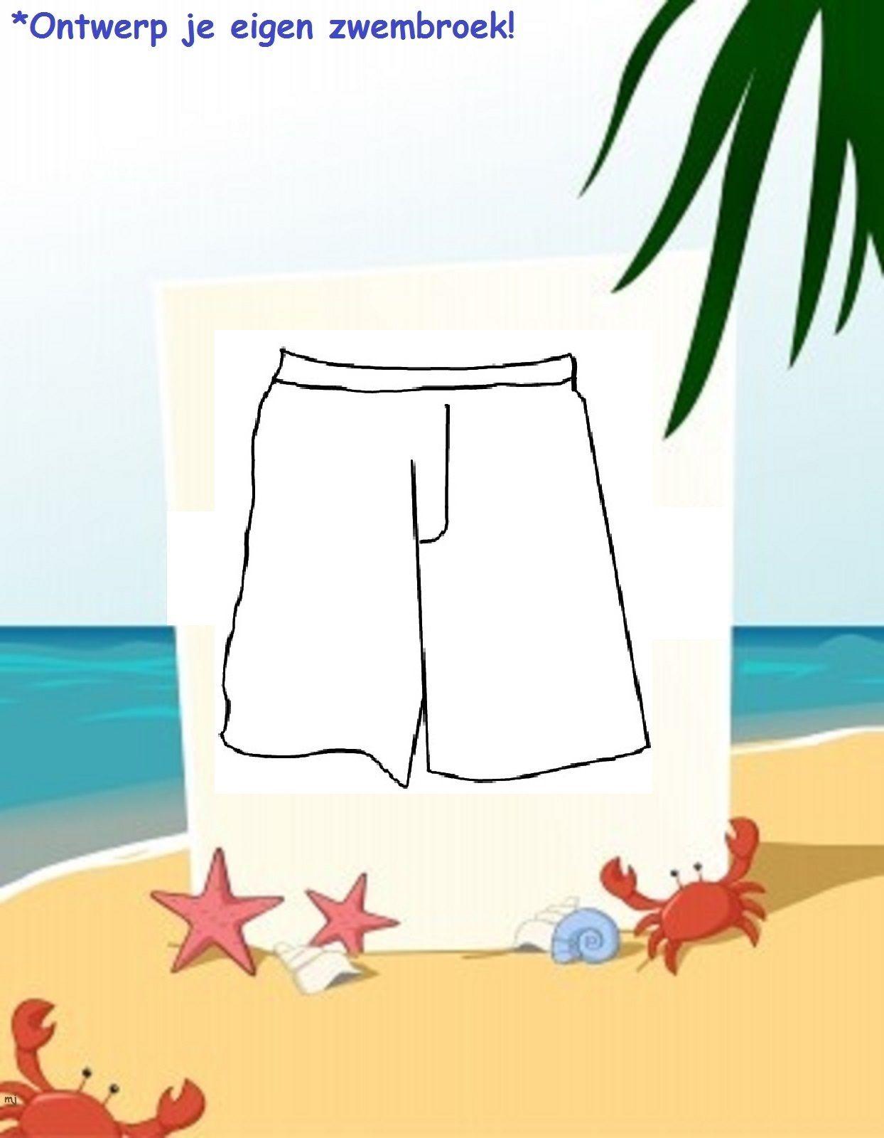 Ontwerp Je Eigen Zwembroek Gebruik Verschillende Materialen Zomer Kleurplaten Thema Strand Thema