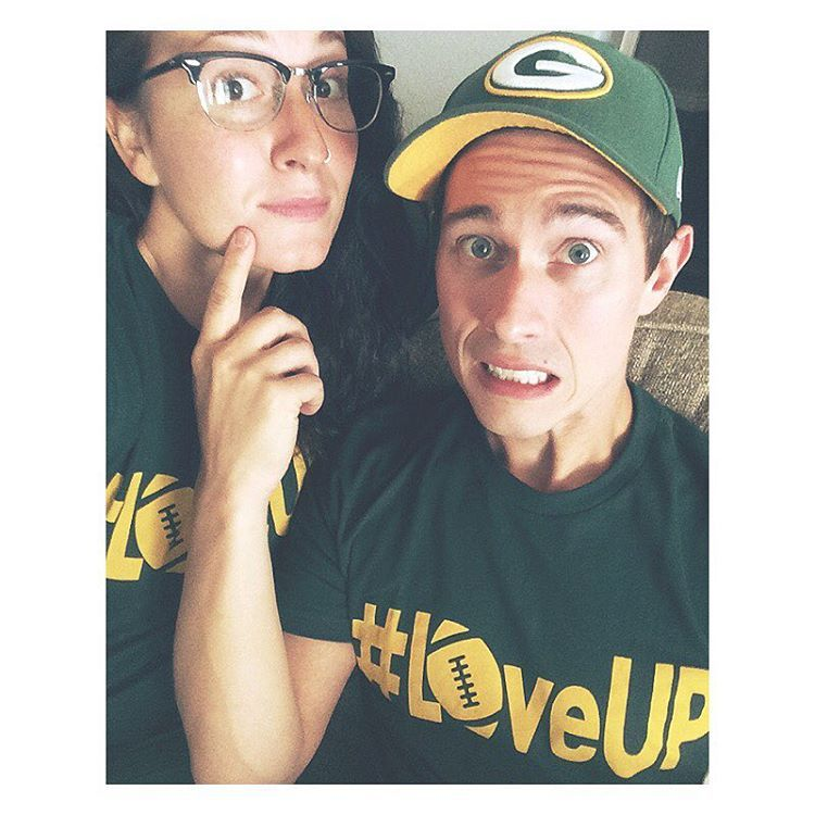 """When you have no makeup on & a giant zit on your chin, but you want to take a pic with your cute husband...problem solved. #GoPackGo #LoveUp…"""