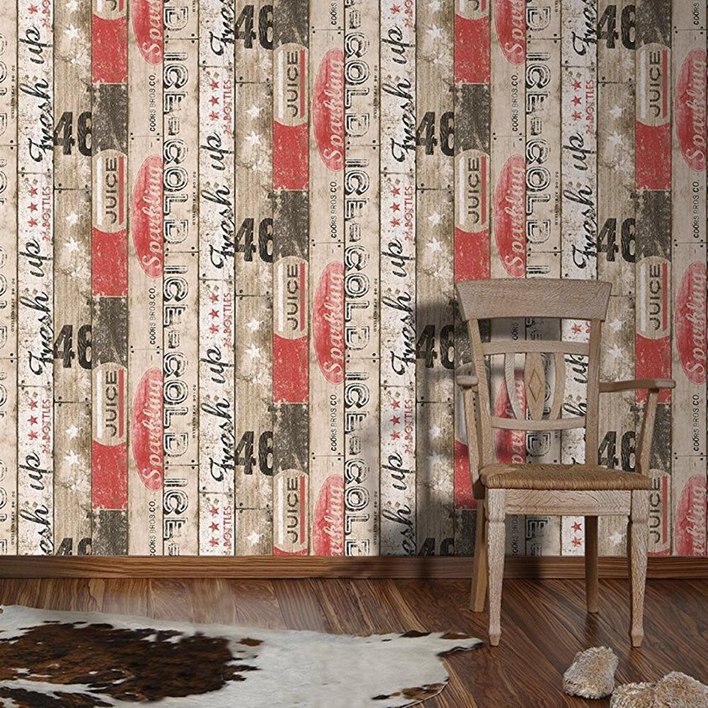 Surf Wood Panel Wallpaper Red AS Creation 959501 Wood