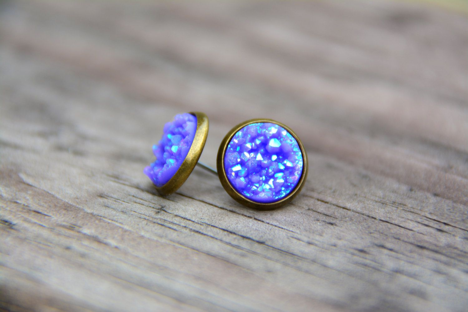 a355f361d3793 Light Blue Druzy Studs, Purple Druzy Stud Earrings, Stud Earrings ...