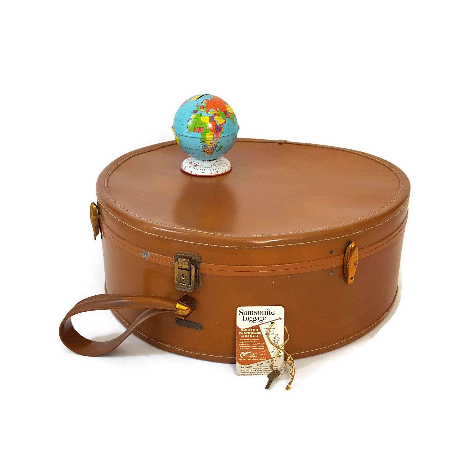 Vintage Samsonite Round Brown Suitcase Retro 1950s Travel Luggage Burlesque Case Hat Box Valise Samsonite Travel Luggage Luggage