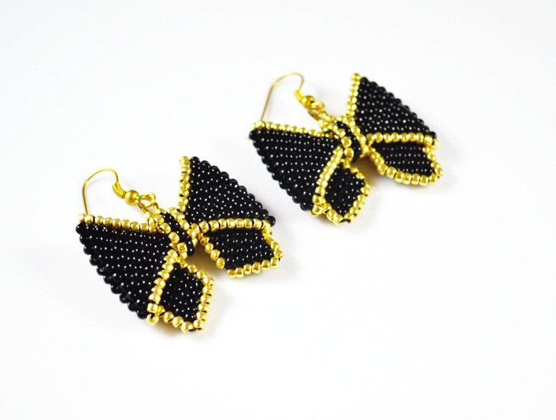 Free Shipping Cute , small earrings - bows, black and gold, gift for her - pinned by pin4etsy.com