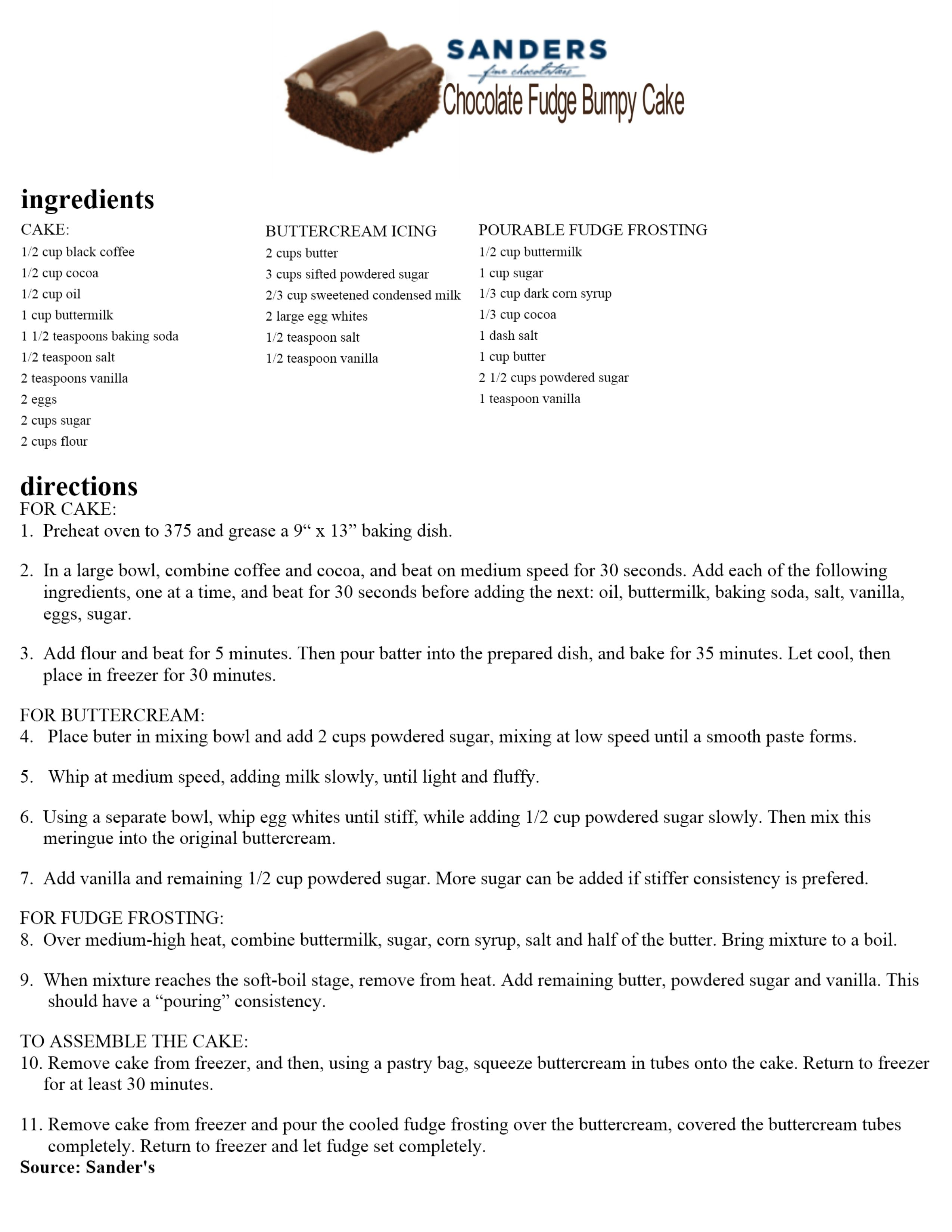 Sanders bumpy cake recipes