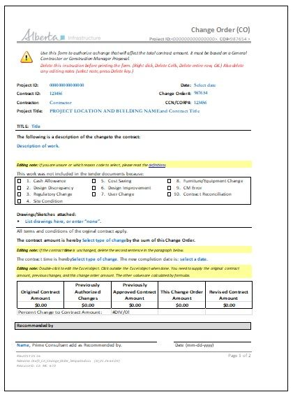 3+ Construction Change Order Templates | Free Word & PDF ...
