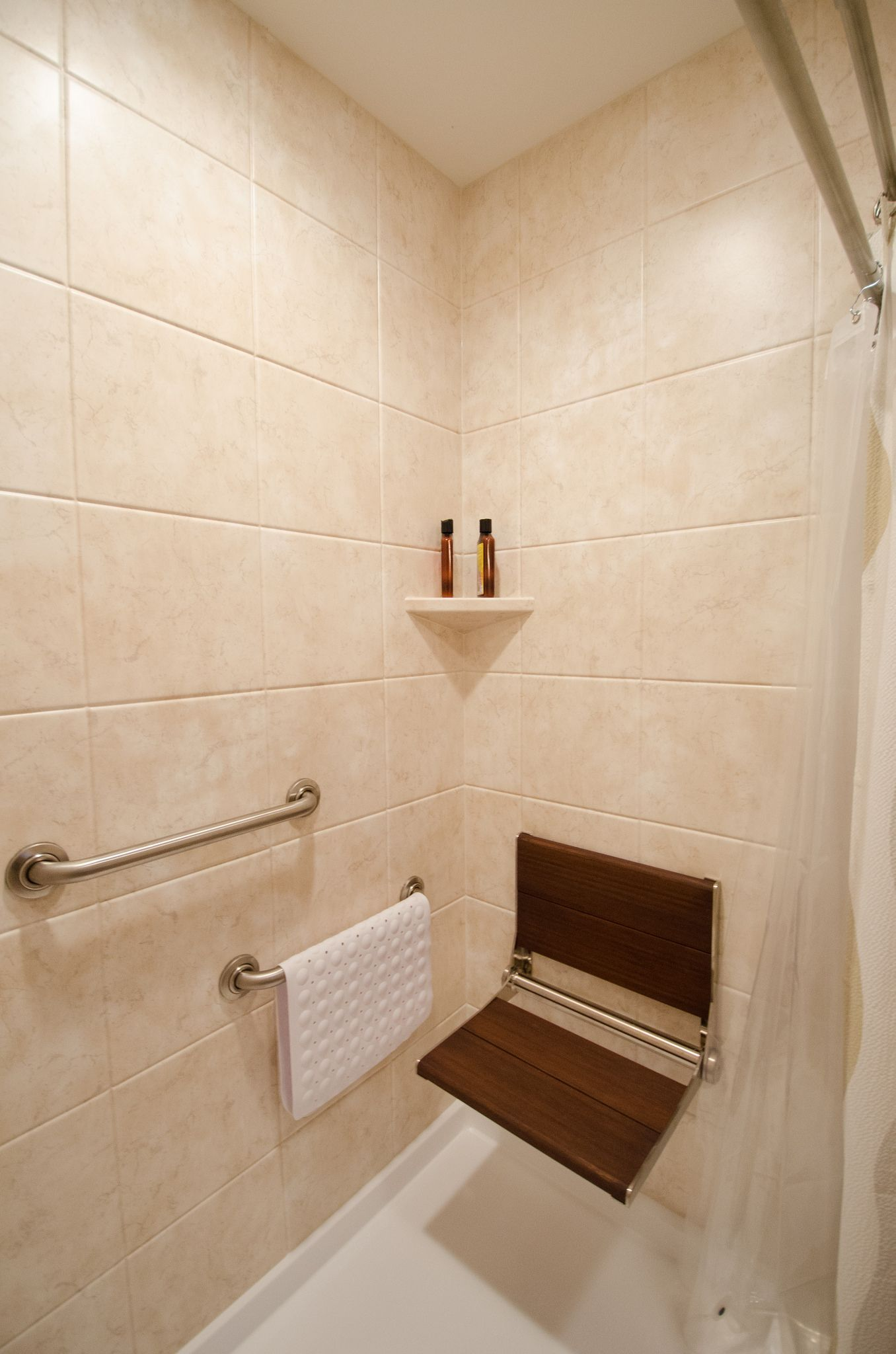 RH813- after-0169 | Shower seat, Shower rod and Grab bars