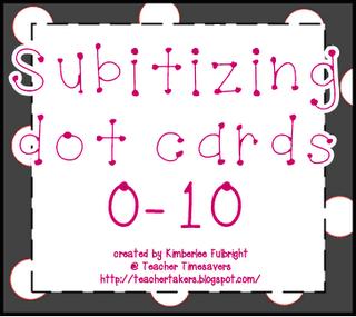 Teacher Time Savers: Polka Dotted Subitizing Dot Cards