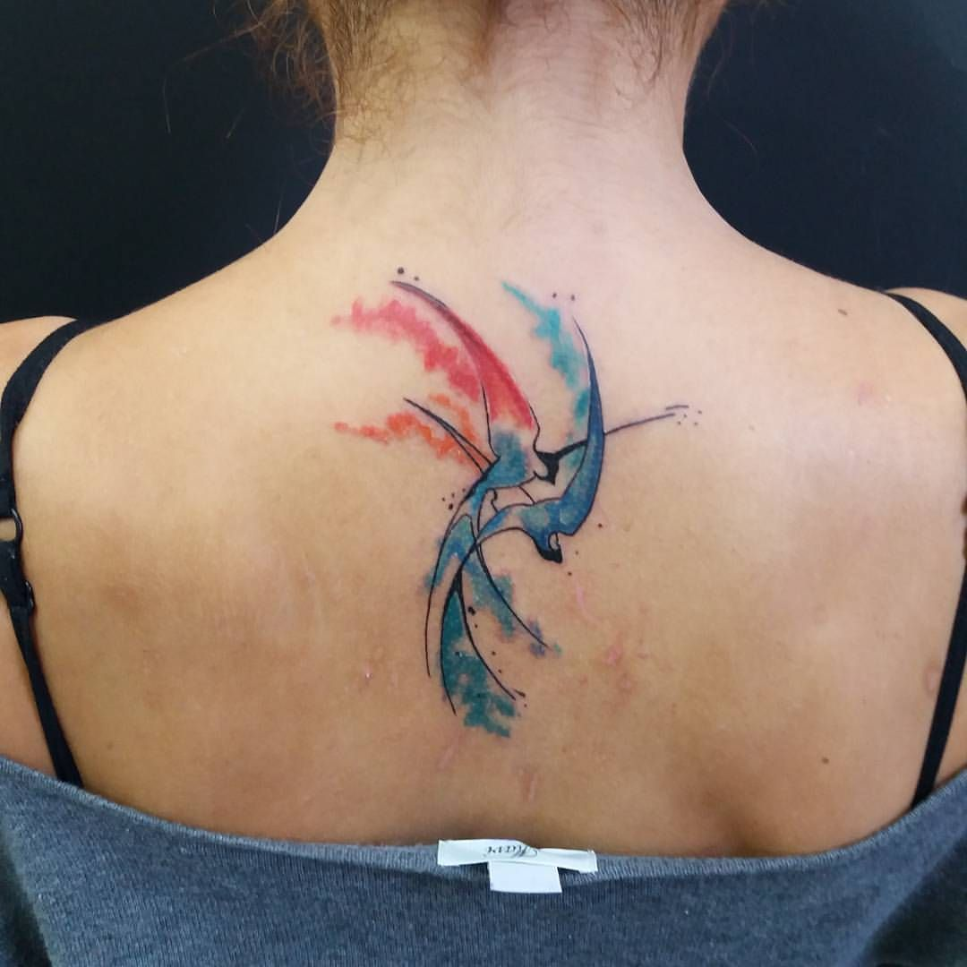 Birds tattoo colorbirds colortattoo back tattoo girls for My tattoo girls
