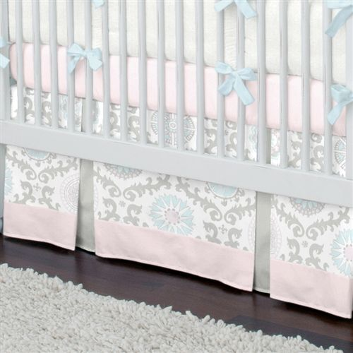 Pink And Gray Rosa Crib Skirt Two Pleat With 4 Inch Trim