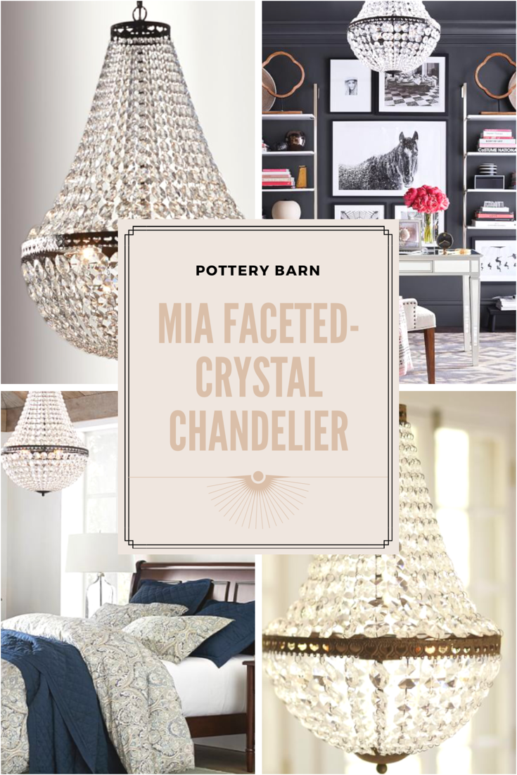 Pottery Barn Mia Faceted Crystal Chandelier Antique