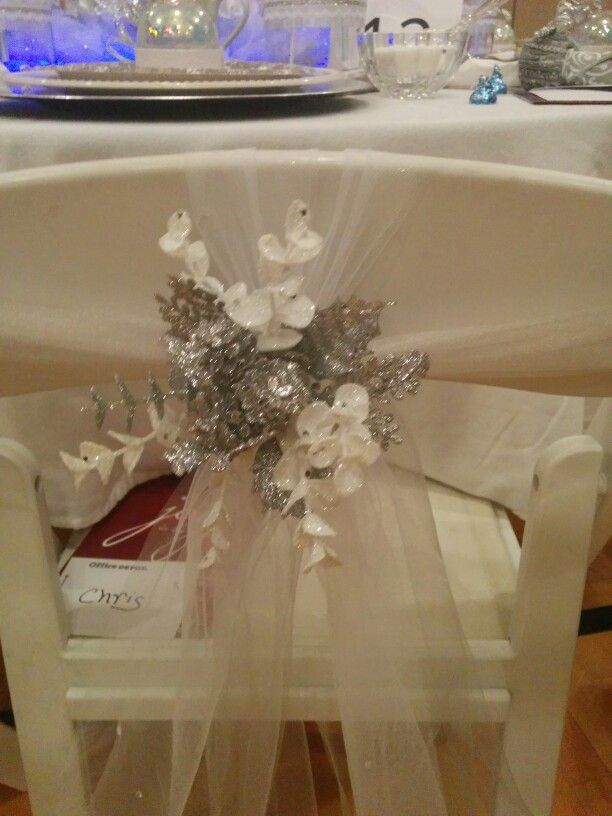 Floral and Tulle Chair bow in silver and white