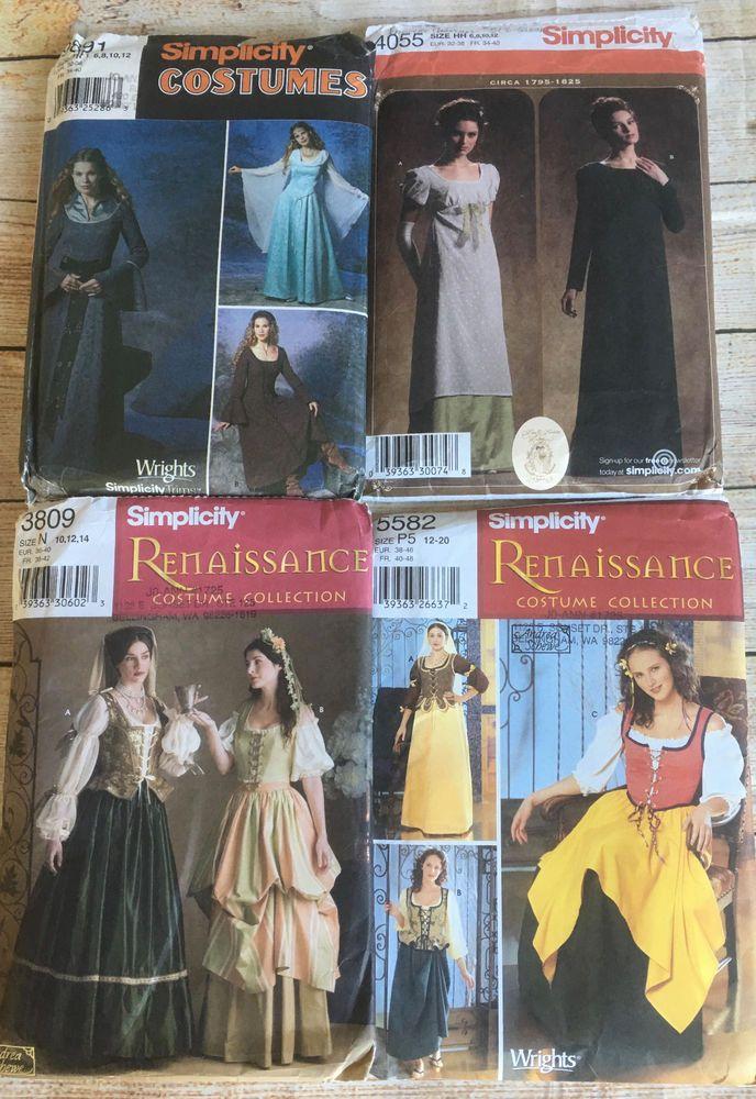 4 Sewing Pattern Renaissance Costume Lot Dress Princess Queen ...