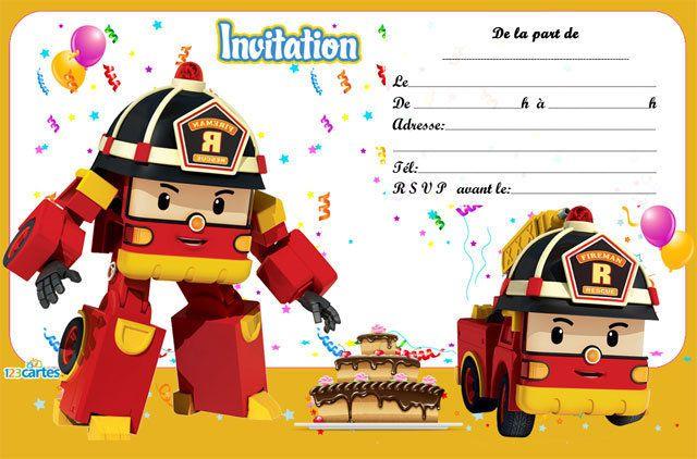 Les 4 Robocar Carte Invitation Anniversaire Enfant 123cartes En 2020 Cartes Invitation Anniversaire Enfant Invitation Anniversaire Enfant Carte Invitation