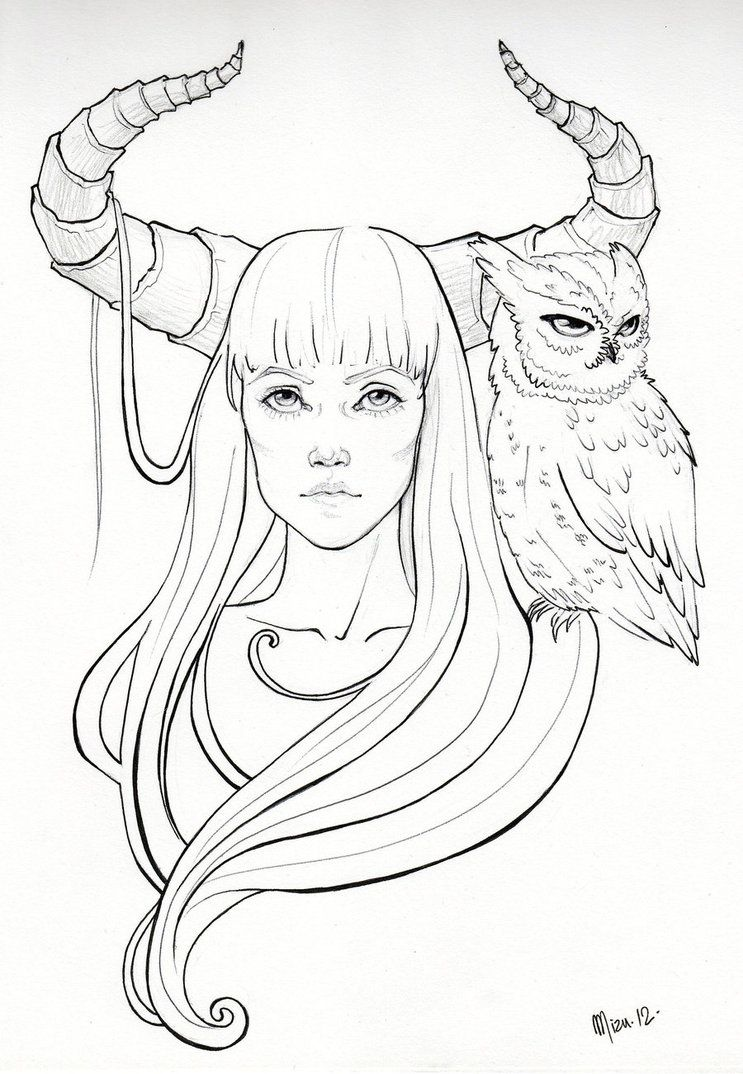 Horned girl with owl by deviant mizu doodle drawings easy drawings drawing sketches