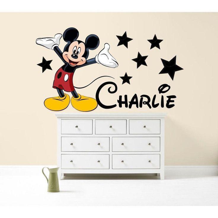 mickey mouse couleur sticker mural personnalise chambre de garcon dart en voiture vinyle. Black Bedroom Furniture Sets. Home Design Ideas