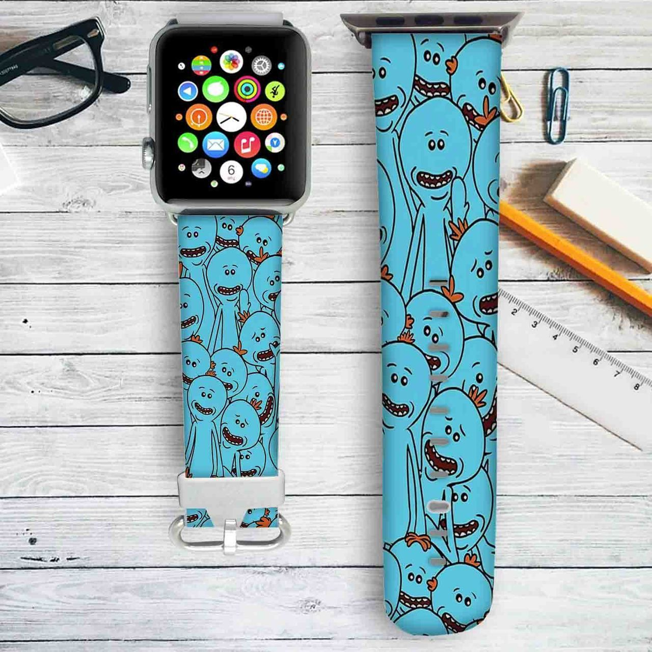 Rick and Morty Mr Meeseeks Custom Apple Watch Band Leather