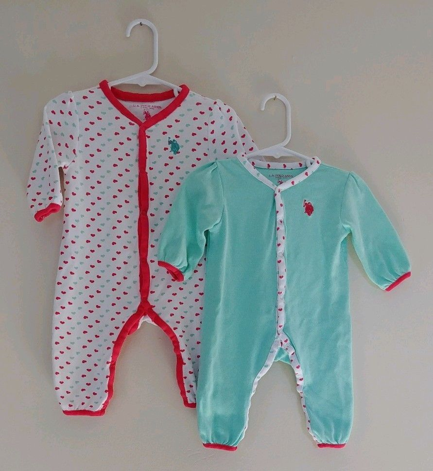7fe331f82 2 Baby Girl U.S. Polo Assn Size 6-9 Month Footless Sleepers 1pc PJ s ...