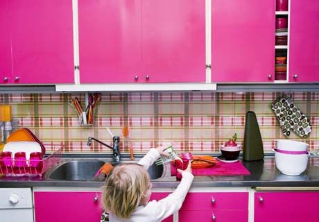 Pink Kitchen Cabinets love the white cabinets with bright pink cabinet doors. wonder if