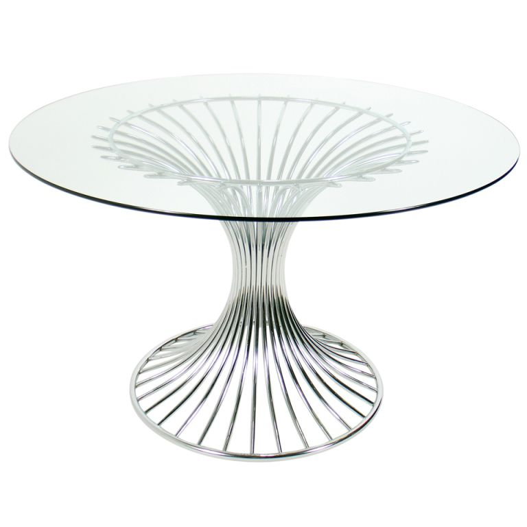Sculptural Chrome Dining Table Base in the manner of Warren ...
