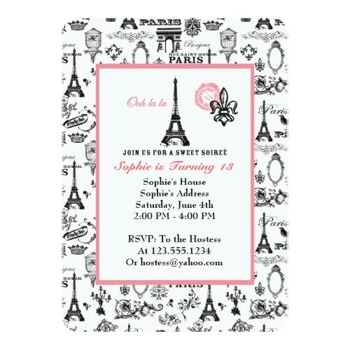 Paris party white invitation paris birthday parties and paris birthday paris party white invitation filmwisefo
