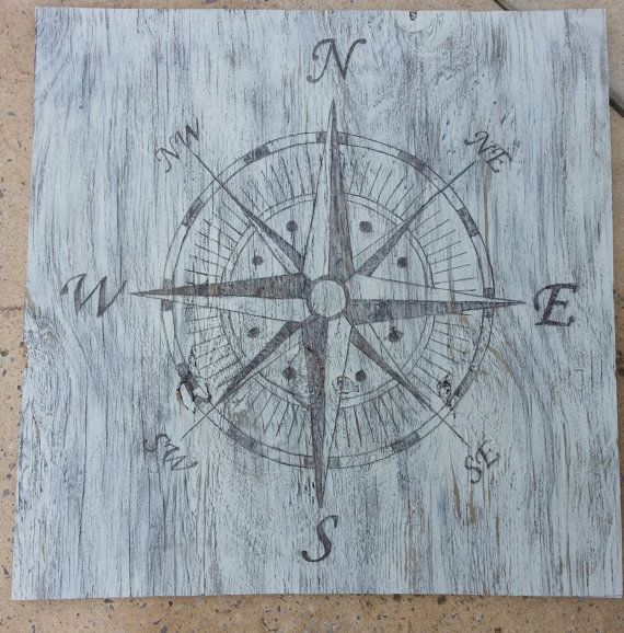 distressed woodburned compass rose. Great wall art with the classic ...