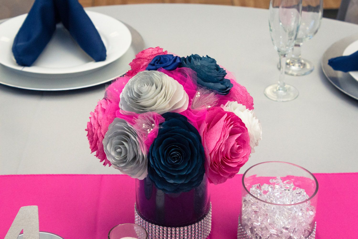 Navy blue hot pink and silver wedding table centerpieces