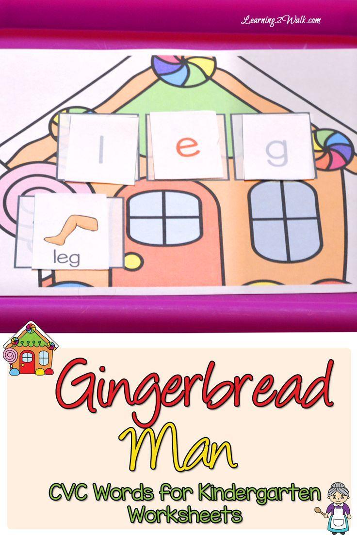 Gingerbread Man CVC Words for Kindergarten Worksheets | Aktivitäten ...