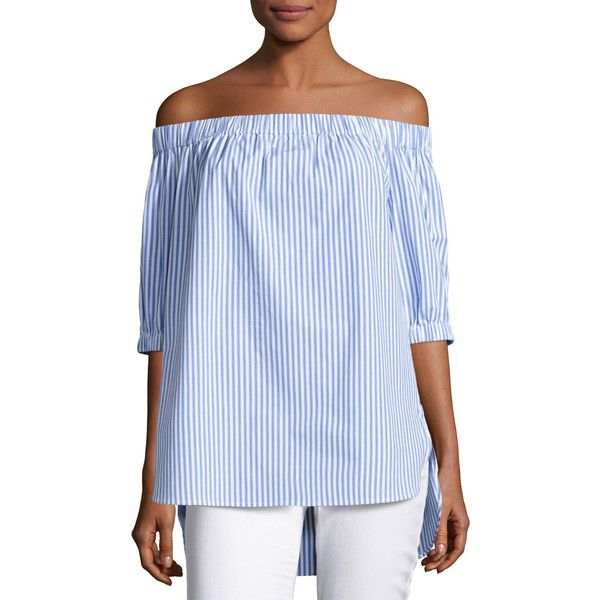 Michael Michael Kors Off-the-Shoulder Striped Shirting Blouse (1,760 MXN) ❤ liked on Polyvore featuring tops, blouses, dark blue, off shoulder shirt, striped off-the-shoulder tops, blue striped shirt, dark blue blouse and blue shirt