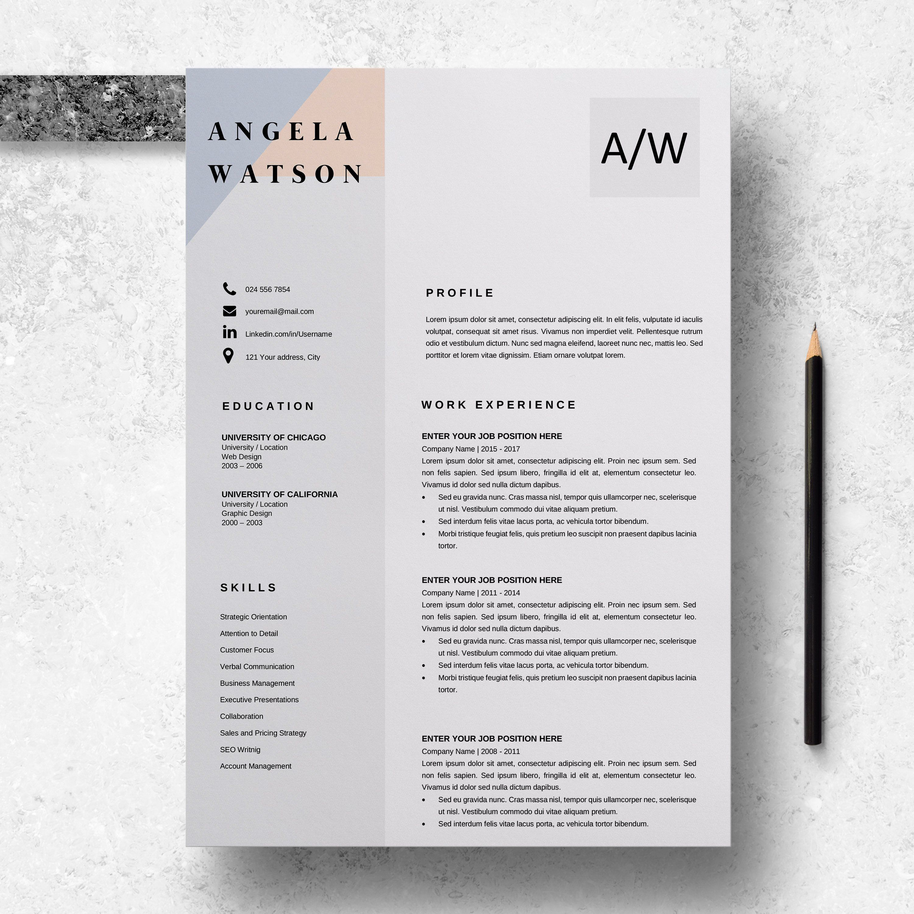 Professional Cv Template Word Resume Template Instant Etsy In 2020 Resume Template Downloadable Resume Template Cv Template Word