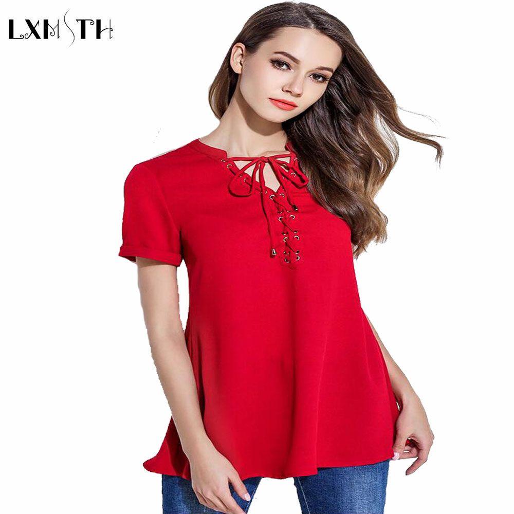 40222cd5902 Short Sleeve Chiffon Blouse Plus Size Summer Medium Long Slim Lacing Women  Bandage Blouses ladies Shirts New 2017