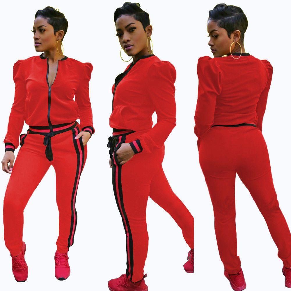 2 pcs Women Jumpsuit Romper Long Sleeve Pants Playsuit Trousers Tracksuit Outfit