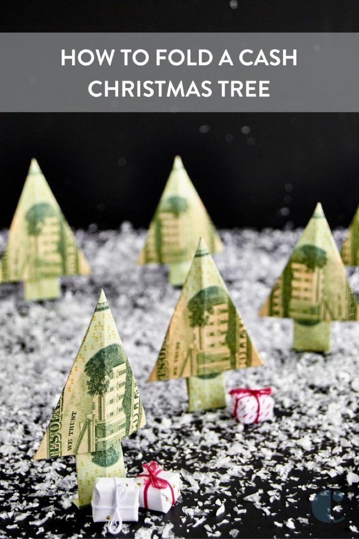 How To Fold A Christmas Money Tree Money Trees Folding Money And