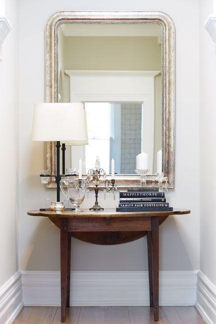 Petite Entry Vignette | Gold Mirror, Pine Card Table, Black Accessories |  Via Le