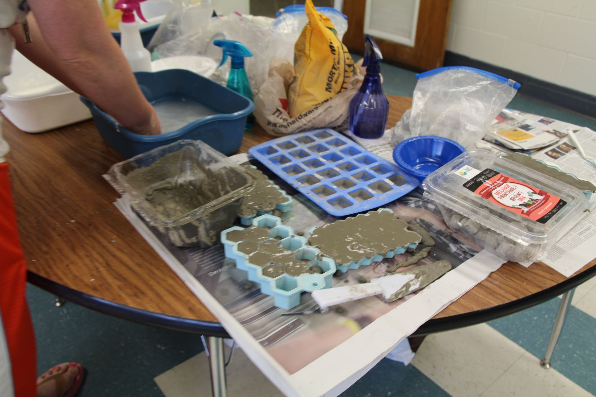 You can buy pre-made mini bricks for students to build structures with but they are expensive. I cam up with the idea of using Quik Crete and silicon ice cube trays. Mix up the cement and pour into the trays. When dry, pop the bricks out. I asked teachers to invent their own mortar by using sand, cornstarch, water and glue. Check out more STEM teacher training investigation here: http://www.drdianateachertraining.com #shoestringSTEM #STEM #k12 #teaching #classroom #studentdriven