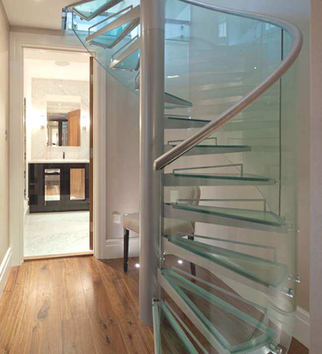 Bespoke Modular Spiral Staircase With Toughened Glass Treads And Curved Balustrade Saxum