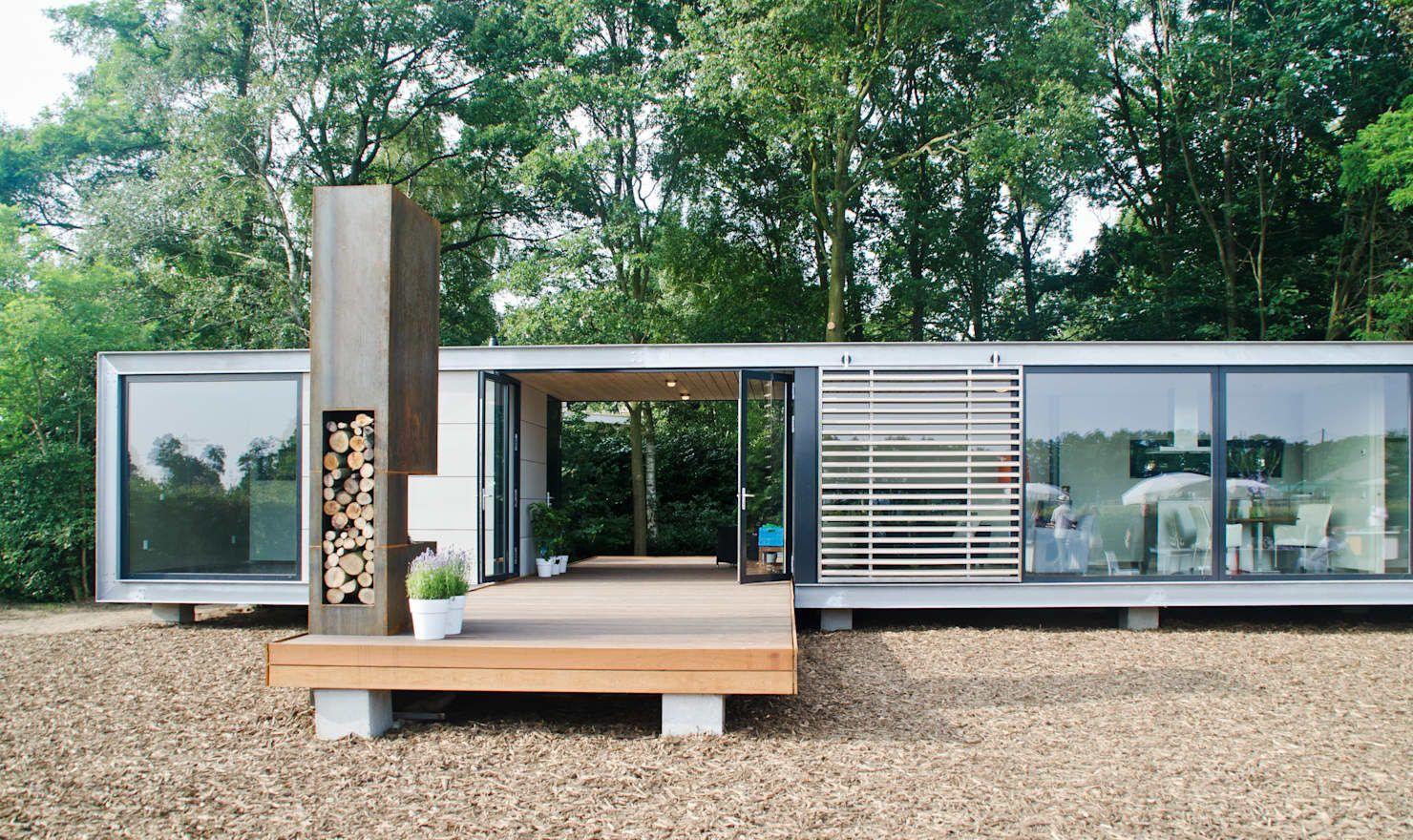 Panorama Prefab Recreatiebungalow Met Guesthouse Moderne Huizen