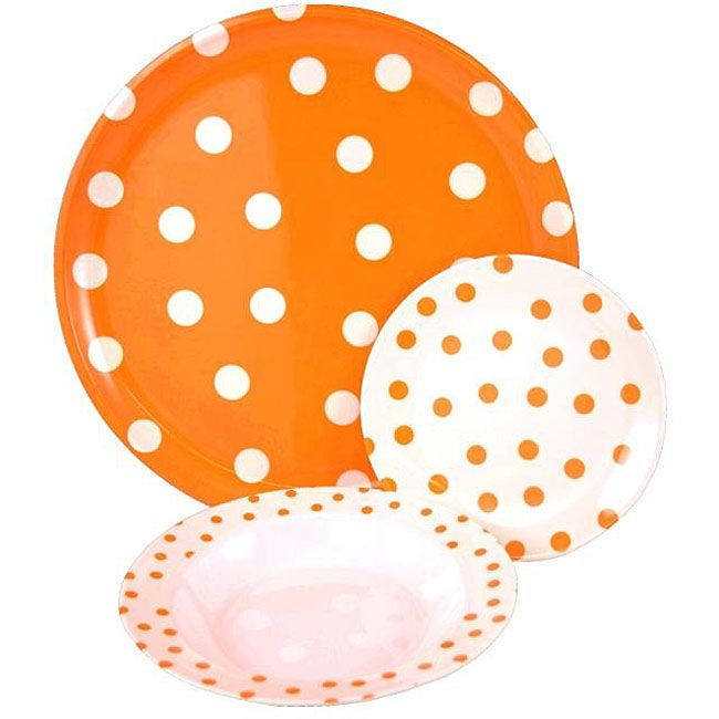Tango Orange/ White Polka Dot 9-piece Dinnerware Set  sc 1 st  Pinterest & Tango Orange/ White Polka Dot 9-piece Dinnerware Set | Colors ...