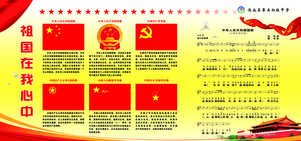 Poster Detailing The Meaning And Identity Of The National Flag Of China Flag O The Communist Party Of China Flag Chinese Propaganda Propaganda National Flag