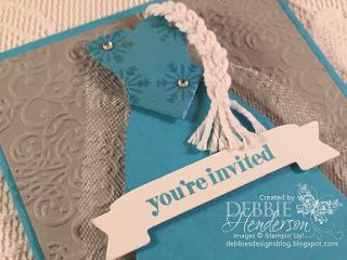 Elsa's Frozen Birthday invite using Stampin' Up! Dress Up Framelits Dies and Clear Wink Of Stella. More photo's of the birthday party for my granddaughter on my blog. Debbie Henderson, Debbie's Designs.