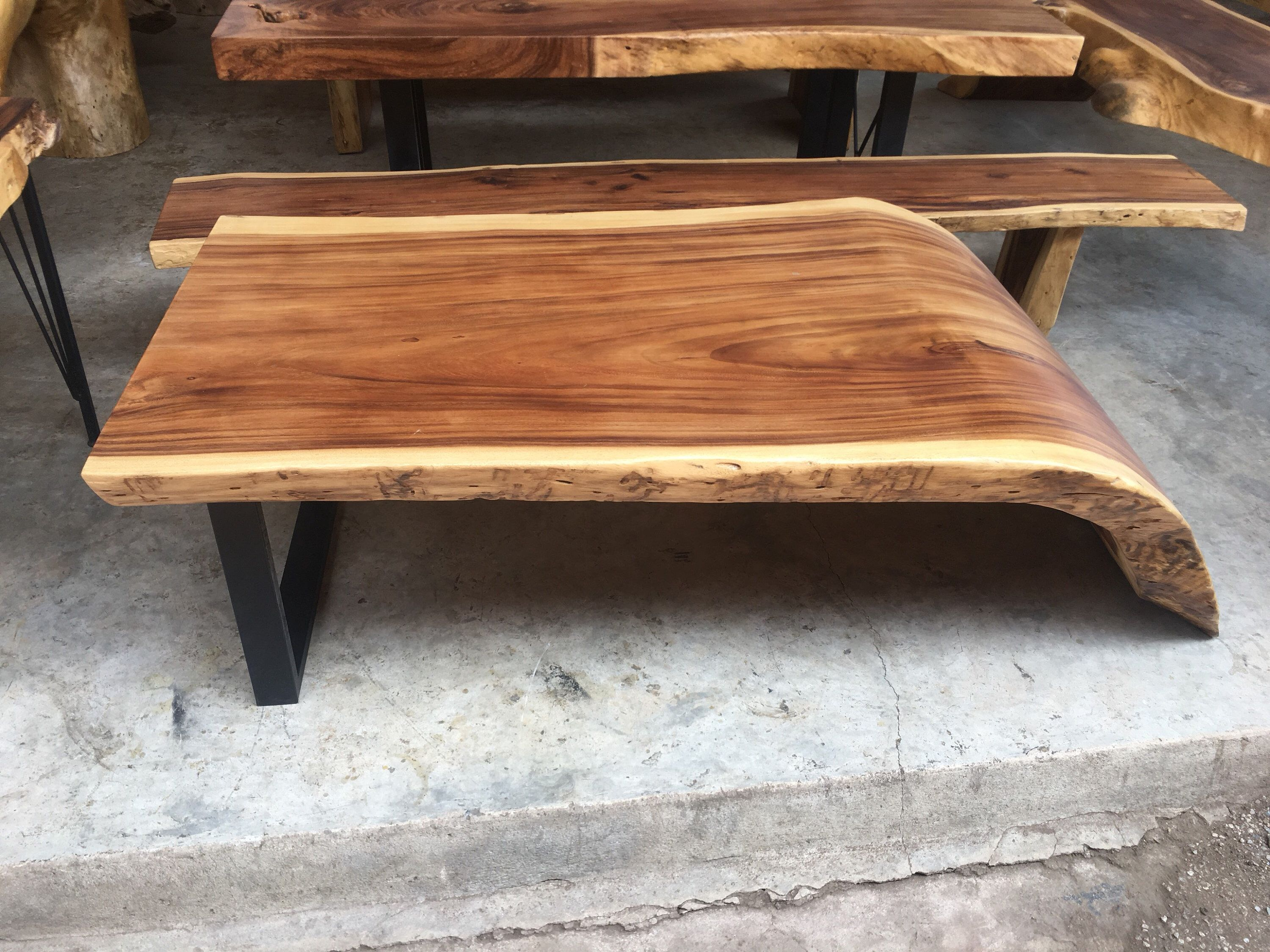 Live Edge Golden Acacia Wood Slab Coffee Table Natural Curve