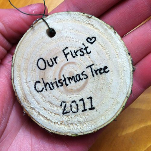 Part of your first Christmas tree made into an ornament you can keep!