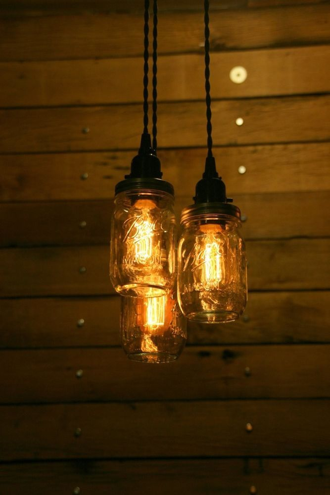 Mason Ball Jar Chandelier Light Primitive Farm Country Western - Western kitchen light fixtures