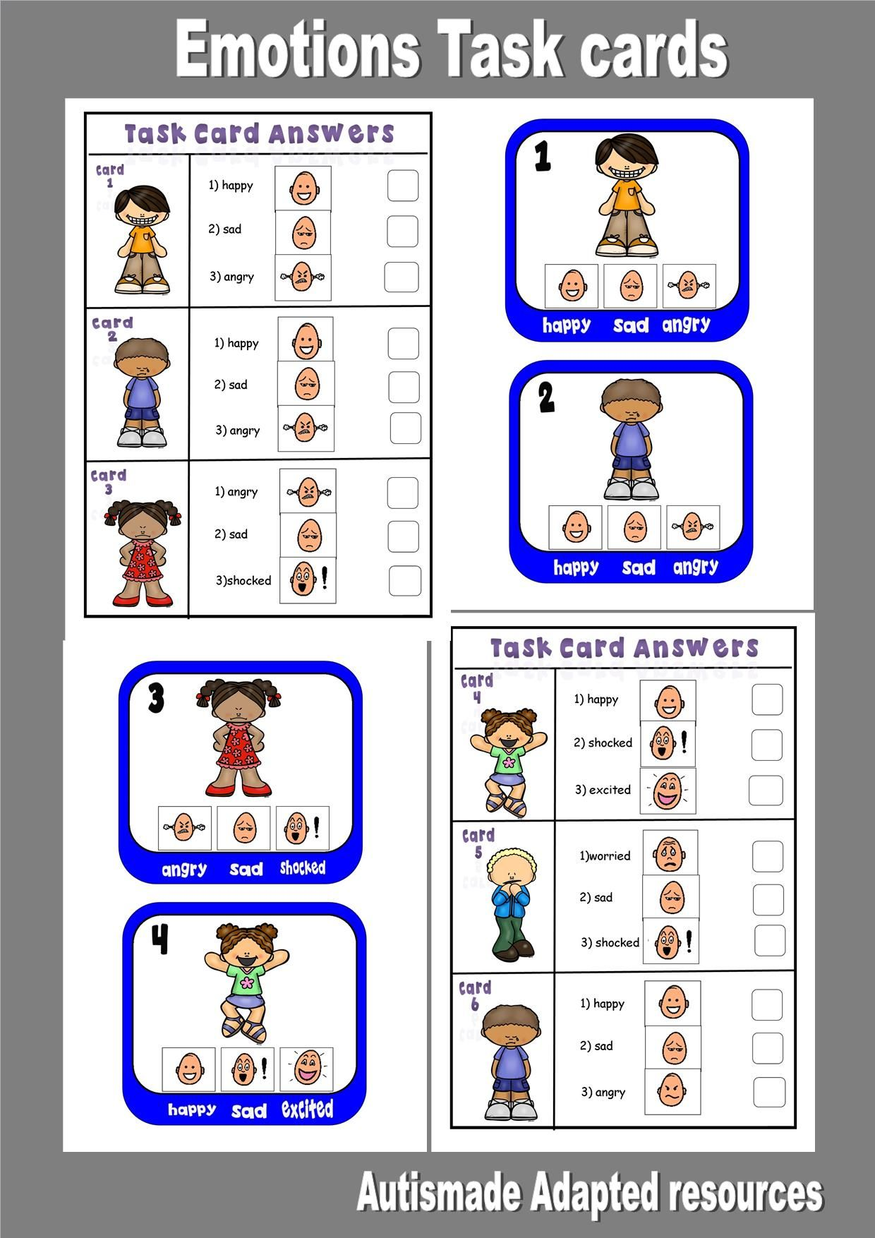 Emotions Vocabulary tasks for students with Autism