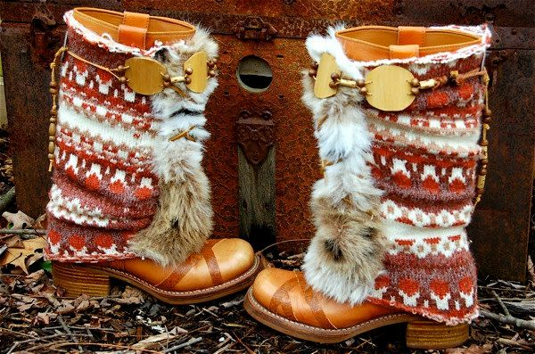 Upcycled Fair Isle Sweater Boots, Vintage Leather Cowgirl Boots ...